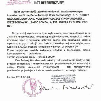 List Referencyjny Katedra