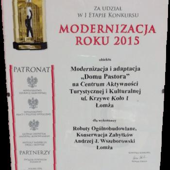 Certyfikat Modernizacja roku 2015